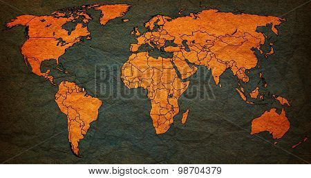 French Guyana Territory On World Map