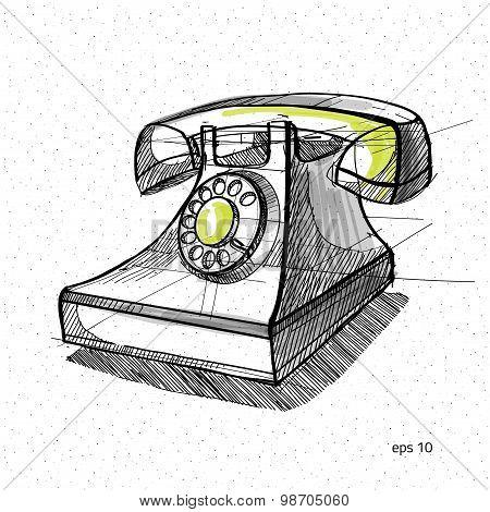 vector sketch illustration - telephone handset