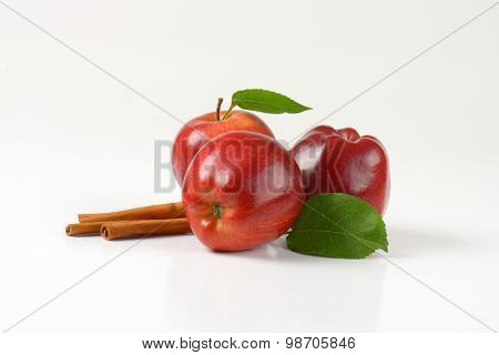 red apples with leaves and spice on white background