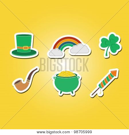 color set with saint patricks day icons