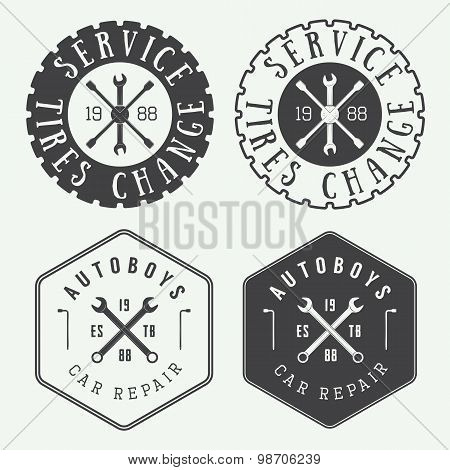 Vintage Mechanic Label, Emblem And Logo.