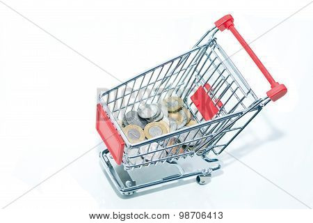 Trolley with coins.