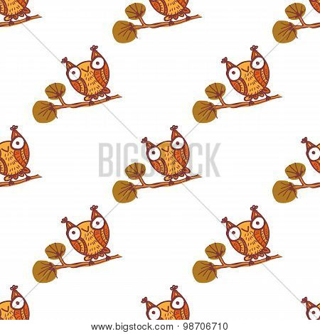 Cute little owls. Seamless pattern