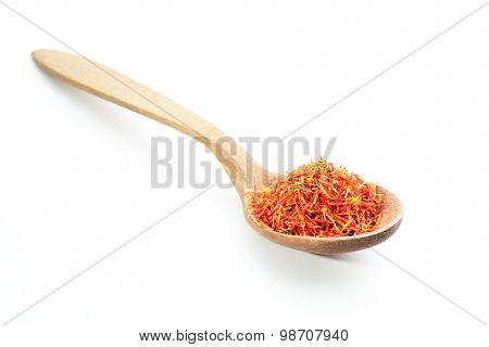 Aromatic Saffron Spice On Wooden Spoon. Isolated.