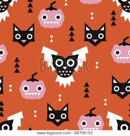 Seamless kids orange halloween pumpkins and geometric cats and owls illustration background pattern in vector