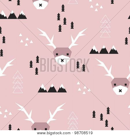 Seamless winter wonderland woodland kids geometric reindeer and christmas tree illustration background pattern in vector