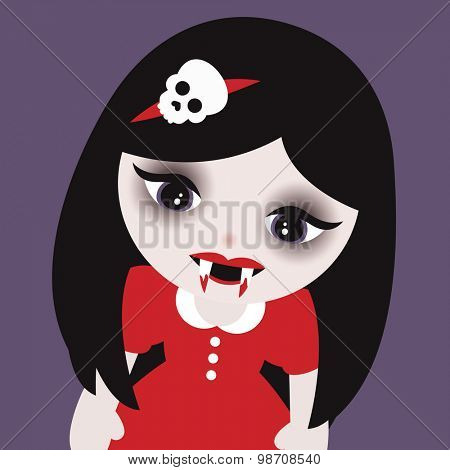 Cute little vampire girls with skull head band and bloody fangs kids halloween illustration background pattern in vector