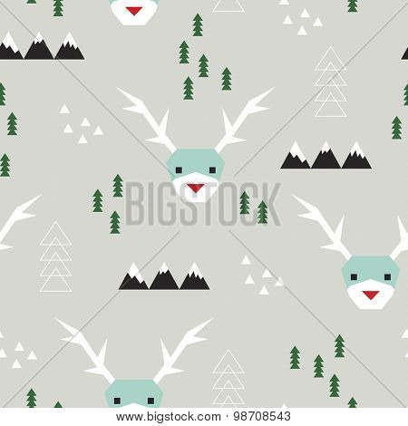 Seamless sweet christmas reindeer and geometric mountains and trees with abstract snow illustration background pattern in vector