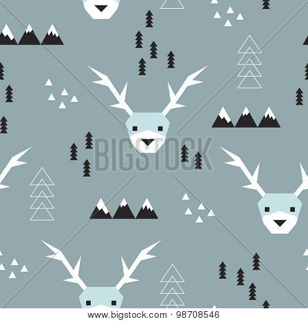 Seamless geometric christmas reindeer theme mountains christmas tree and snow abstract illustration kids background pattern in vector