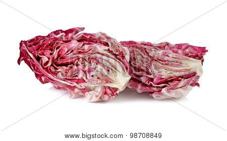 Half Cut Fresh Red Radicchio On White Background