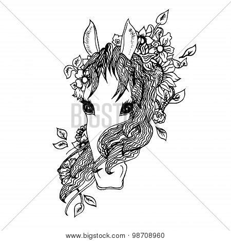 Abstract graphic horse, print.