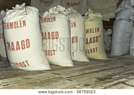 Flour bags in grain mill.