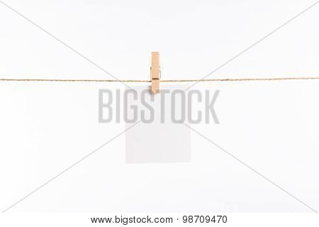 Paper Cards Hanging Rope Isolated