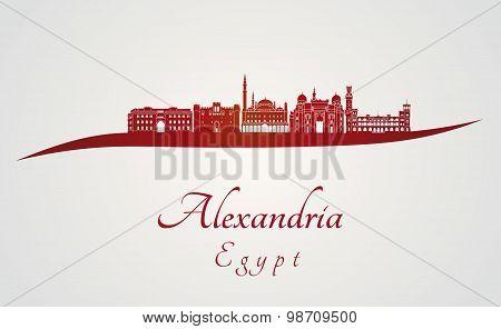 Alexandria Skyline In Red