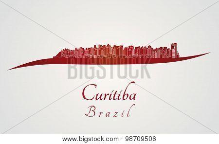 Curitiba Skyline In Red