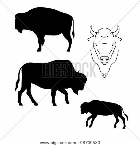 Bison vector silhouettes.