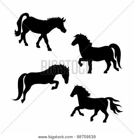 Pony vector silhouettes.