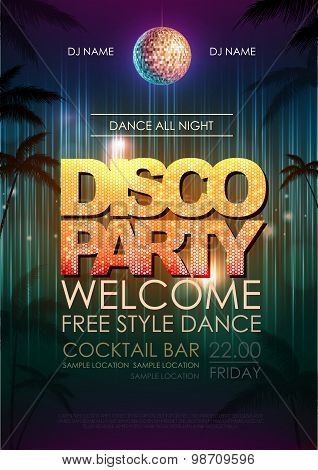 Typography Disco Background. Disco Party Poster