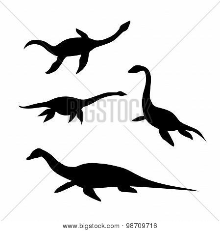 Plesiosaur vector silhouettes.
