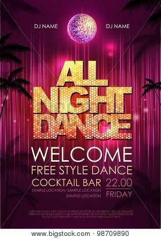 Typography Disco Background. Disco Poster All Night Dance