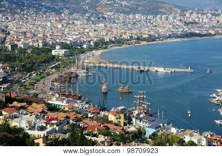 Alanya, Turkey, Jule 25, 2015. View of Alanya harbor