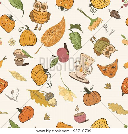 Thanksgiving Vector Doodle Pattern