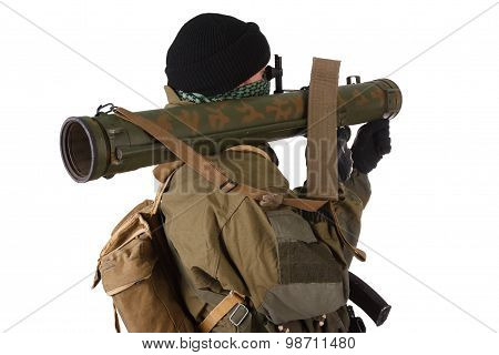 Insurgent Wearing Shemagh With Rpg Rocket Launcher