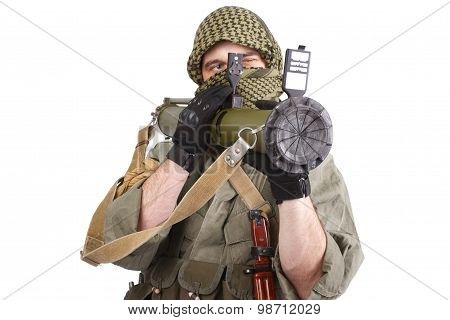 Insurgent Wearing Keffiyeh  With Anti-tank Rocket Launcher