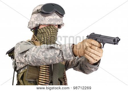 Us Soldier With Handgun On White Background