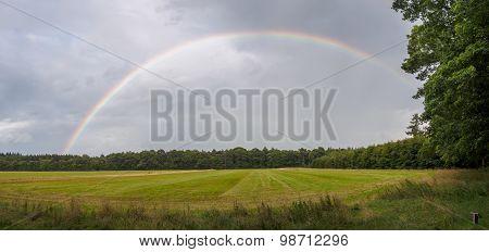 Full Rainbow Panorama Against Dark Clouds