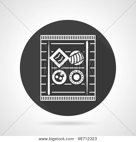 Black round vector icon for sushi set