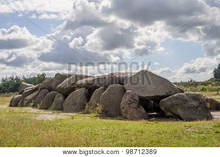 Sunny Hdr Of Megalithic Stones In Holland