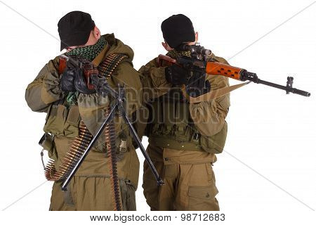Insurgent Sniper Pair With Svd Rifle And Rpd Machine Gun