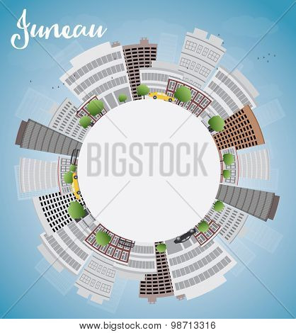 Juneau (Alaska) Skyline with Grey Building, Blue Sky and copy space. Vector Illustration