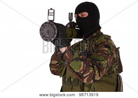 Ukrainian Militiaman With Rpg Grenade Launcher