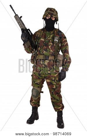 British Army Soldier With Assault Rifle