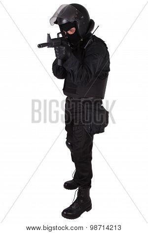 Swat Officer In Black Uniform