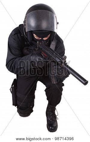 Police Special Forces Officer In Black Uniform