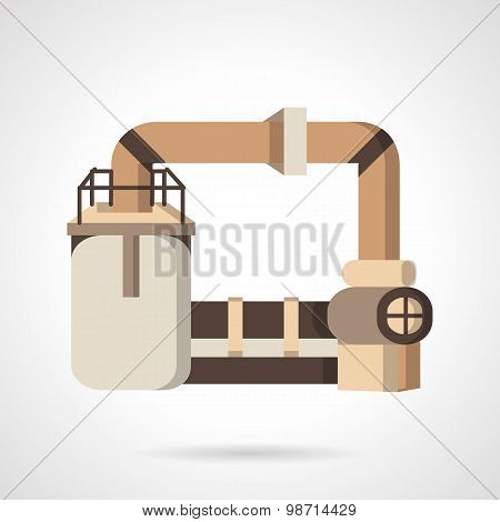 Plastics industry flat vector icon