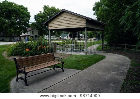 Bench and Picnic Shelter