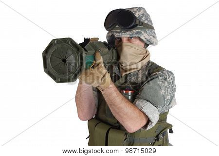 Us Army Soldier With At Rocket Launcher