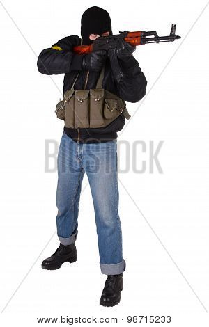 gunman with AK 47 isolated on white background