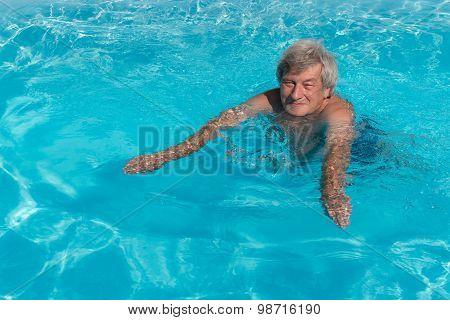 Active Senior Man Swimming