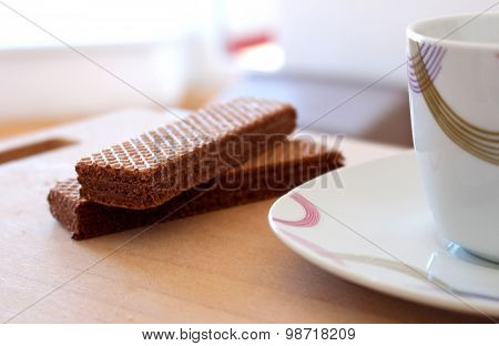 Relax In Work With Cacao Biscuit And Coffee