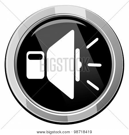 Speaker Volume Icon On Black Button