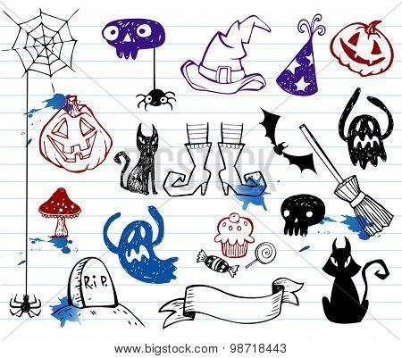 Halloween doodle set vector illustration.