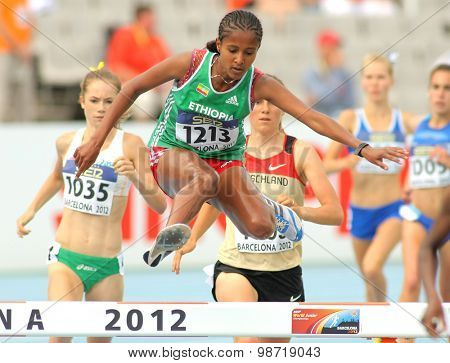 BARCELONA - JULY, 10: Yeabsira Bitew of Ethiopia in action on 3000 meters Steeplechase of the 20th World Junior Athletics Championships at the Olympic Stadium on July 10, 2012 in Barcelona, Spain