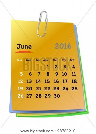 Calendar For June 2016 On Colorful Sticky Notes