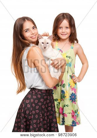 Young Woman And Child With Cat.
