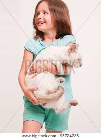 Beautiful Young Girl Holding A Cat.